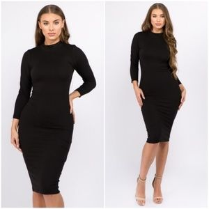 Black Mock Neck Midi Bodycon Dress